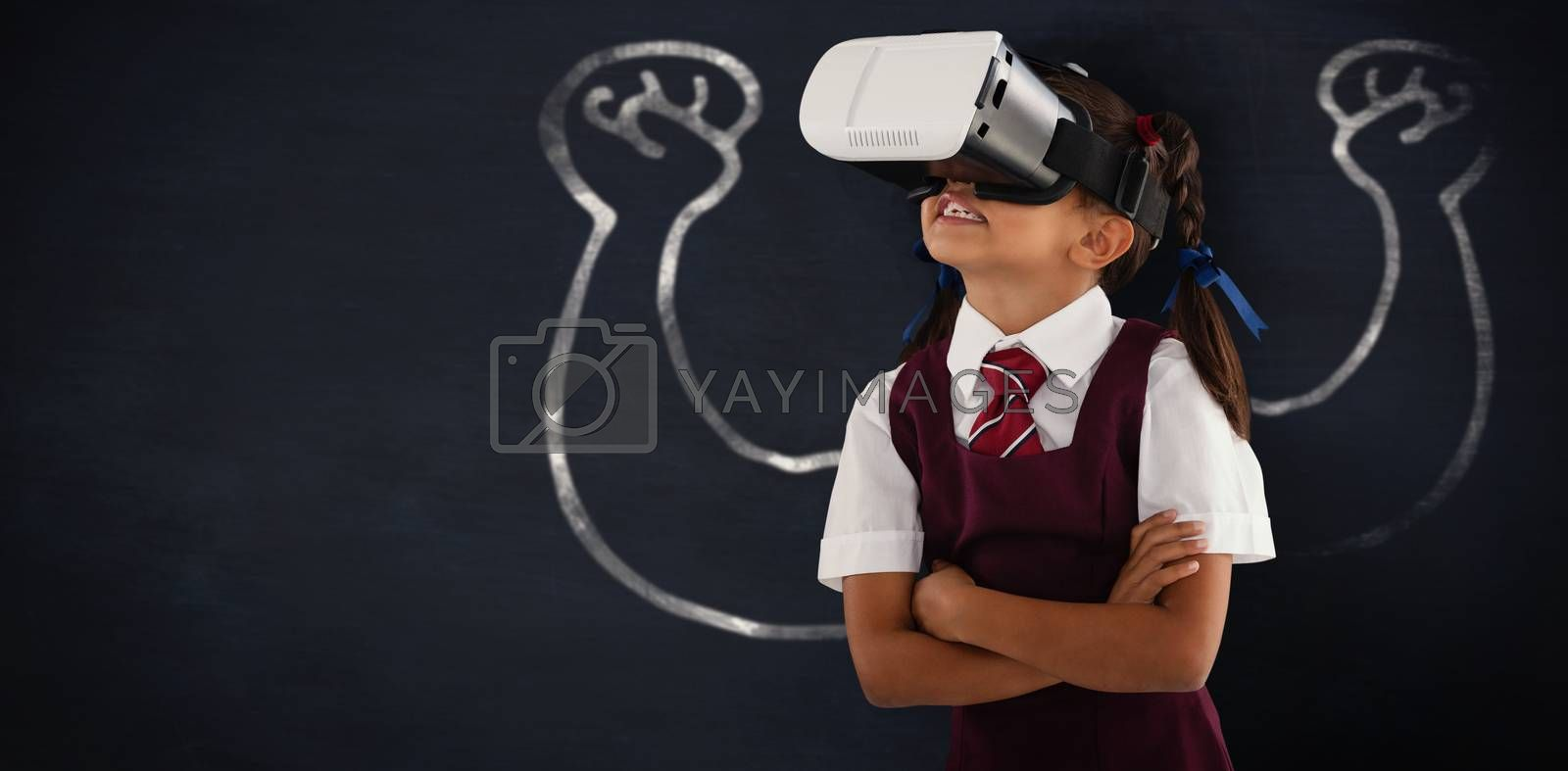 Composite image of schoolgirl wearing virtual reality headset enjoying with arms crossed by Wavebreakmedia