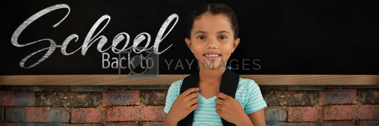 Composite image of portrait of smiling girl with bag by Wavebreakmedia