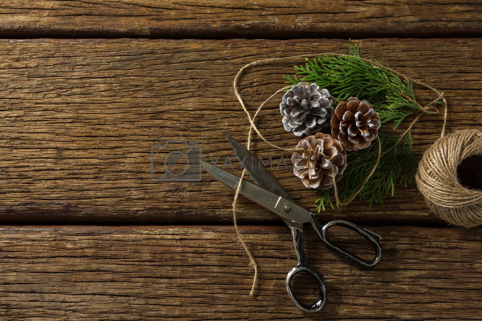 Overhead view of pine cones with scissor and thread spool by Wavebreakmedia
