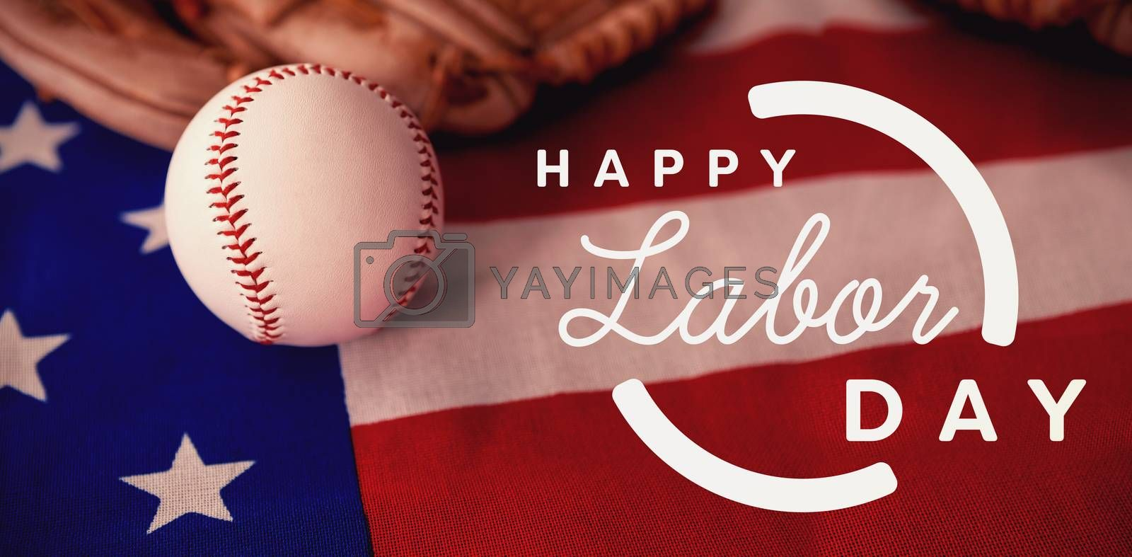 Composite image of digital composite image of happy labor day text with blue outline by Wavebreakmedia