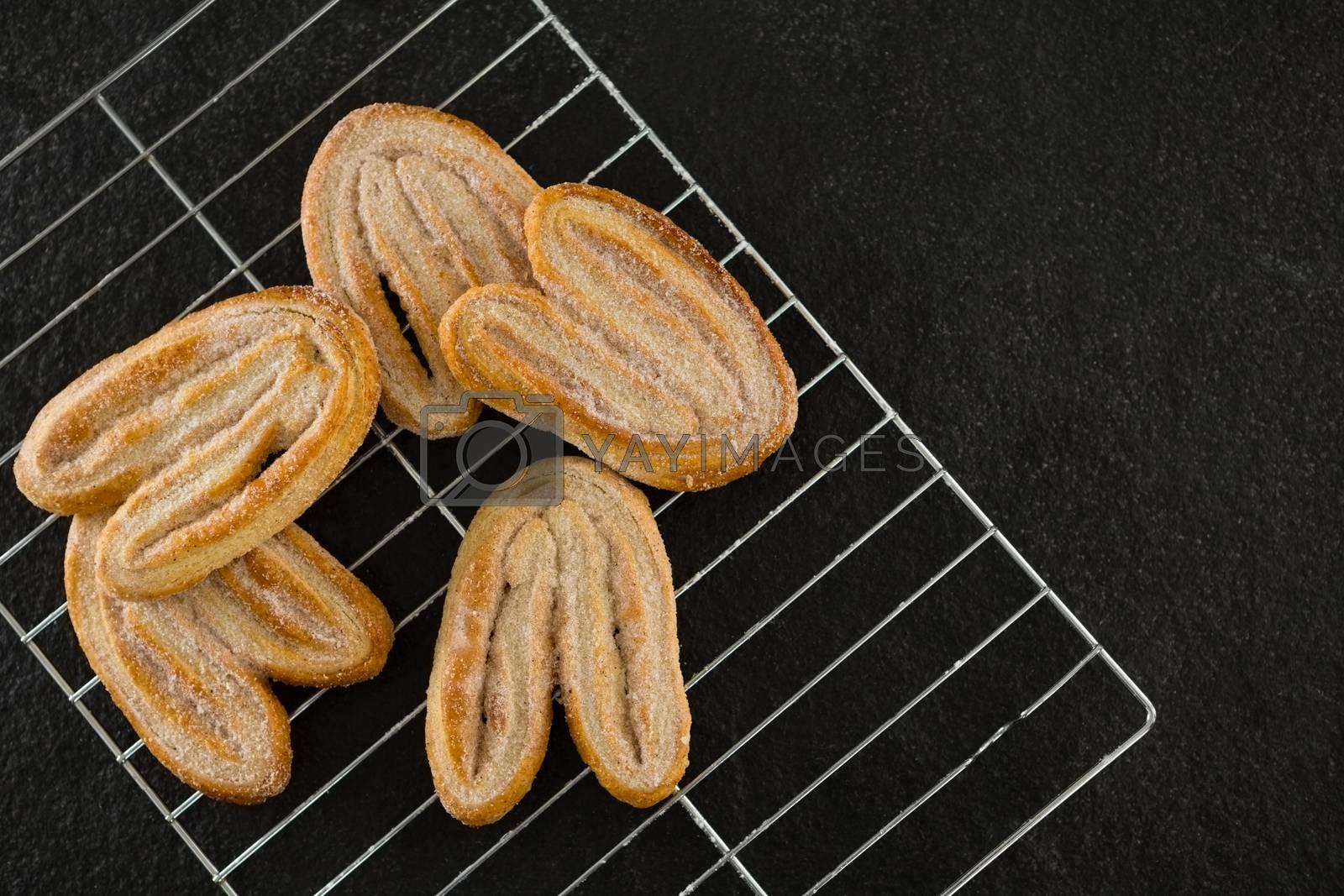 Fresh baked cookies on baking tray by Wavebreakmedia