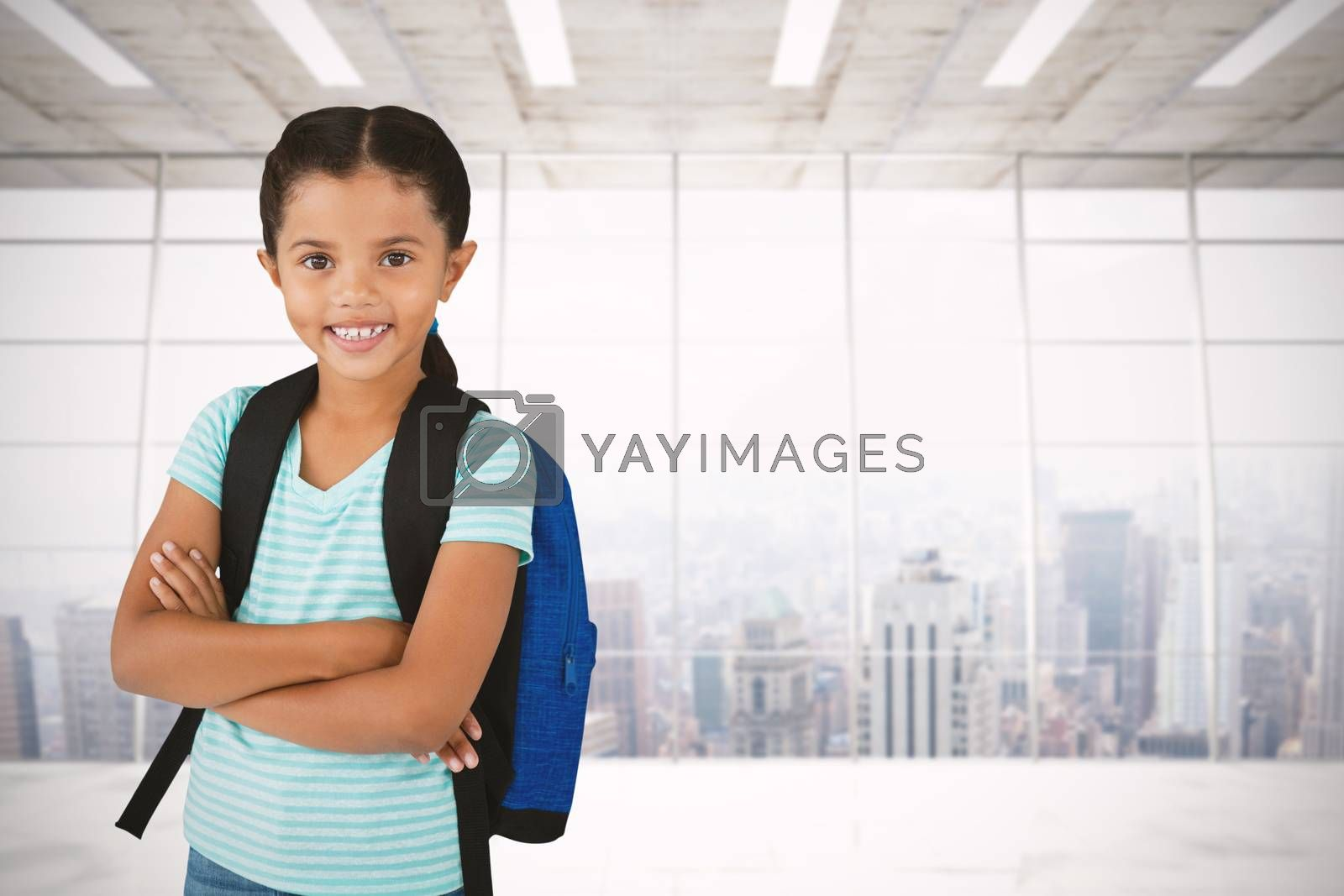 Composite image of portrait of smiling girl with arms crossed carrying bag by Wavebreakmedia