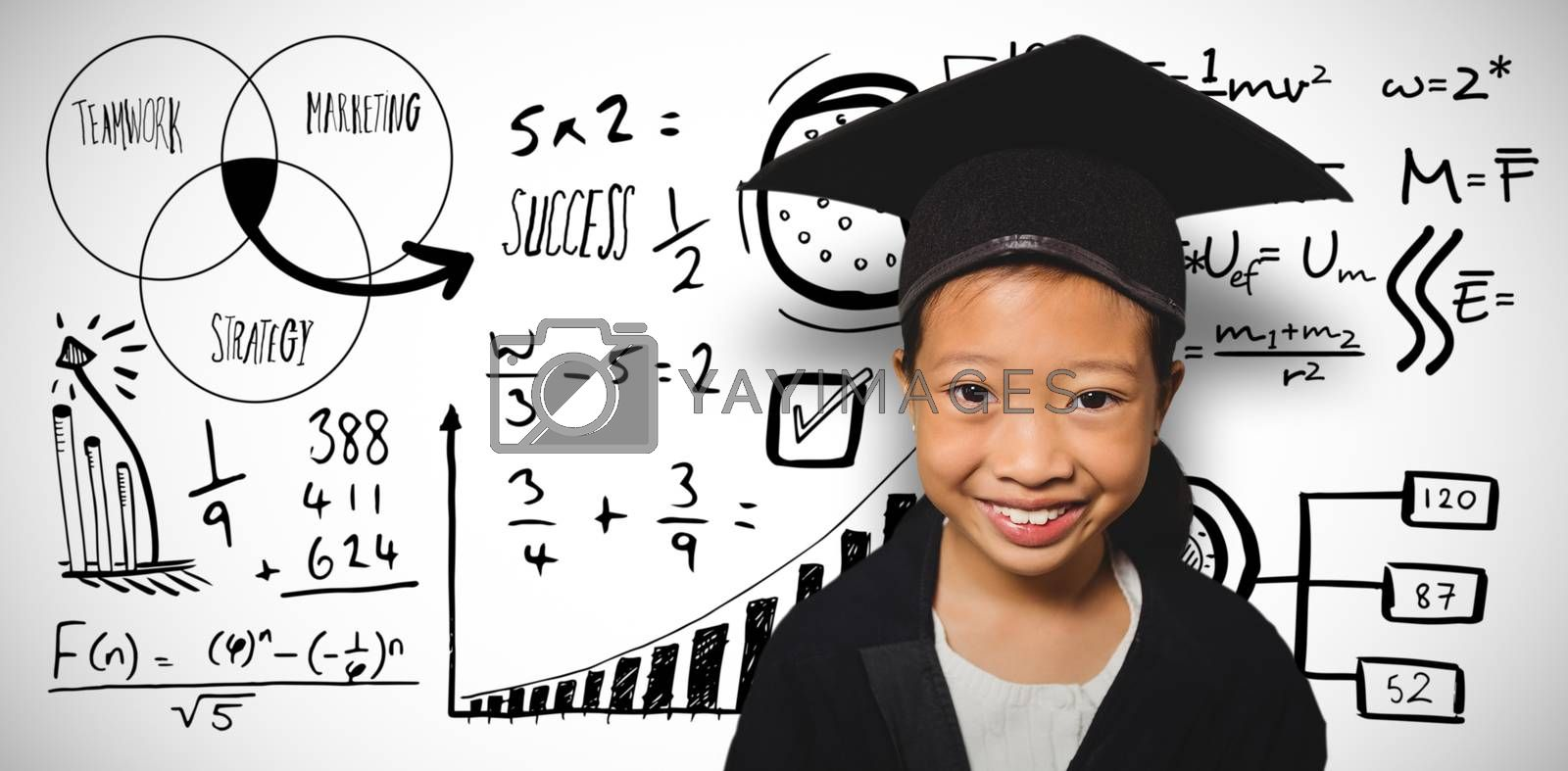 Composite image of portrait of smiling girl wearing mortarboard by Wavebreakmedia