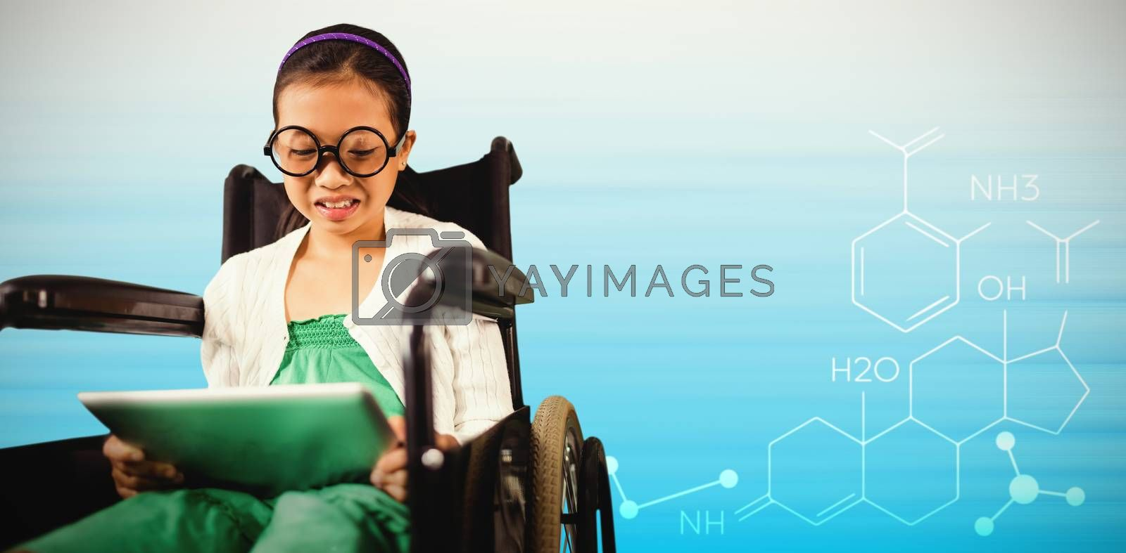 Composite image of young girl looking at digital tablet by Wavebreakmedia