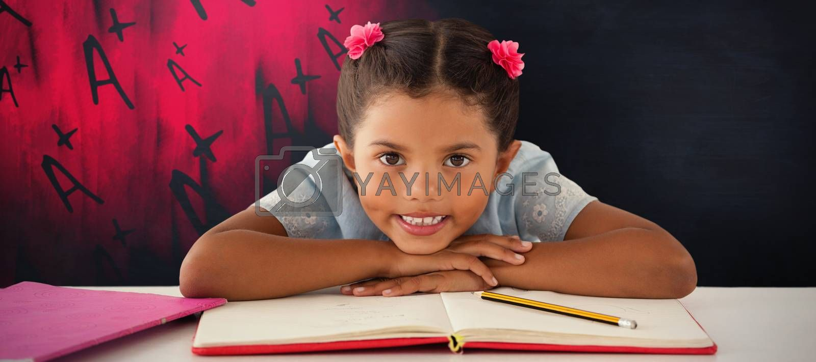 Composite image of girl clenching teeth while leaning on book by Wavebreakmedia