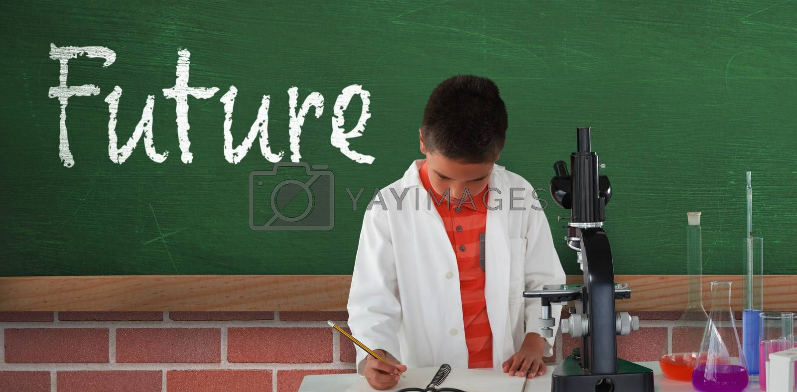Composite image of schoolboy writing on note pad by Wavebreakmedia