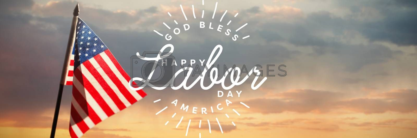 Composite image of composite image of happy labor day and god bless america text by Wavebreakmedia