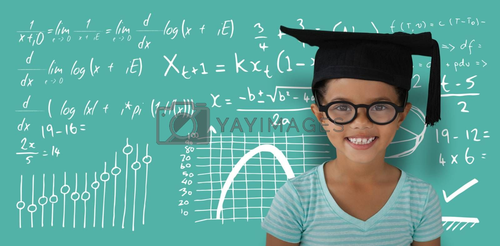 Composite image of portrait of cheerful girl wearing eyeglasses and mortarboard by Wavebreakmedia