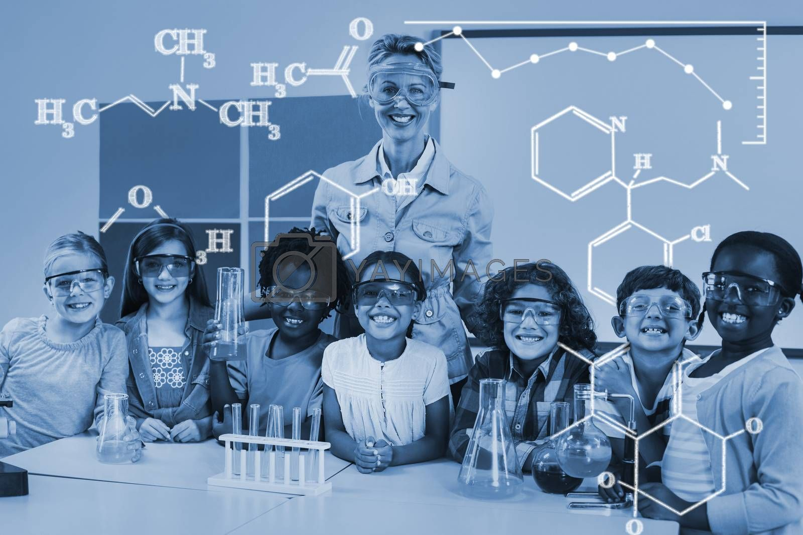 Composite image of digital image of chemical formulas by Wavebreakmedia
