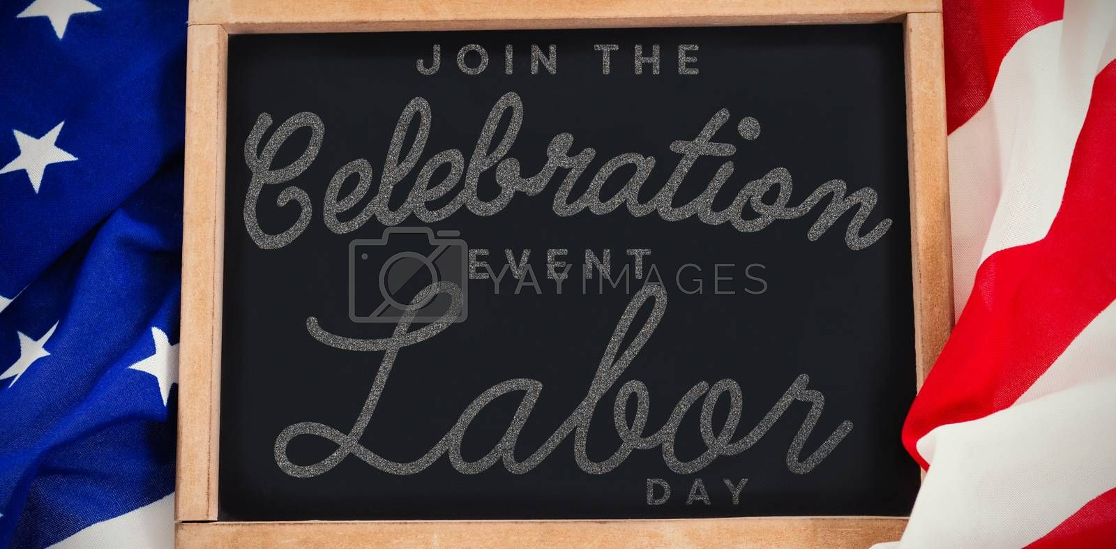 Composite image of digital composite image of join celebratio event labor day text by Wavebreakmedia