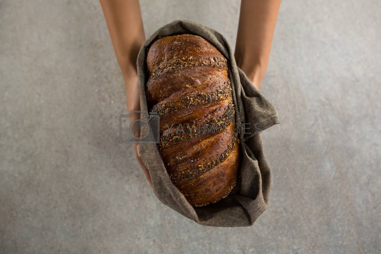 Woman holding a loaf of bread by Wavebreakmedia