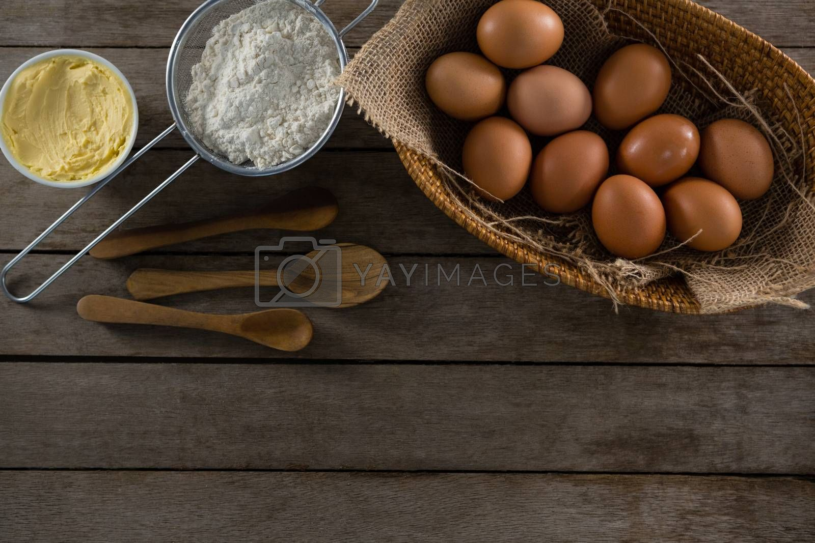 Various ingredients on a wooden table by Wavebreakmedia