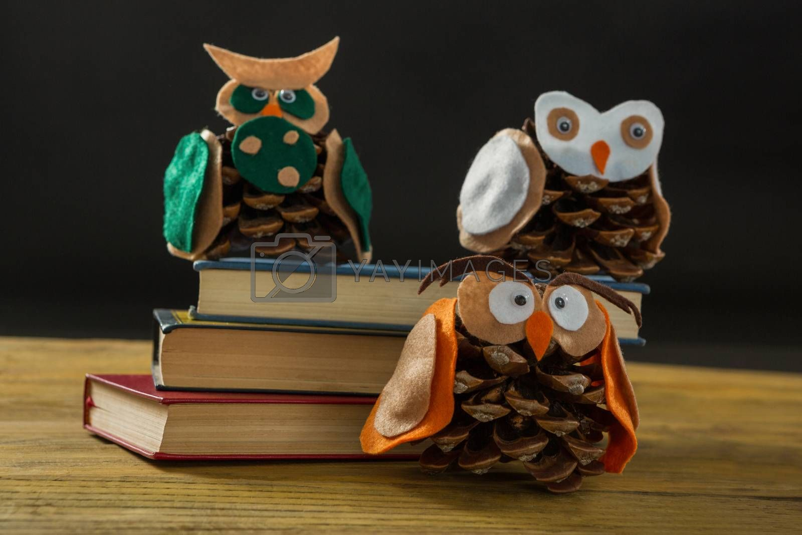 Close up of owls made with pine cones on books by Wavebreakmedia