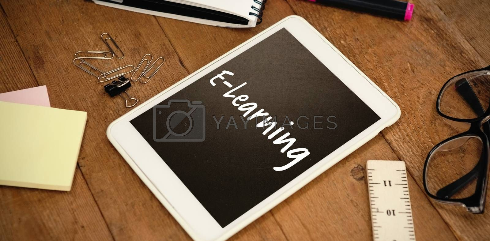 Composite image of e-learning text on white background by Wavebreakmedia