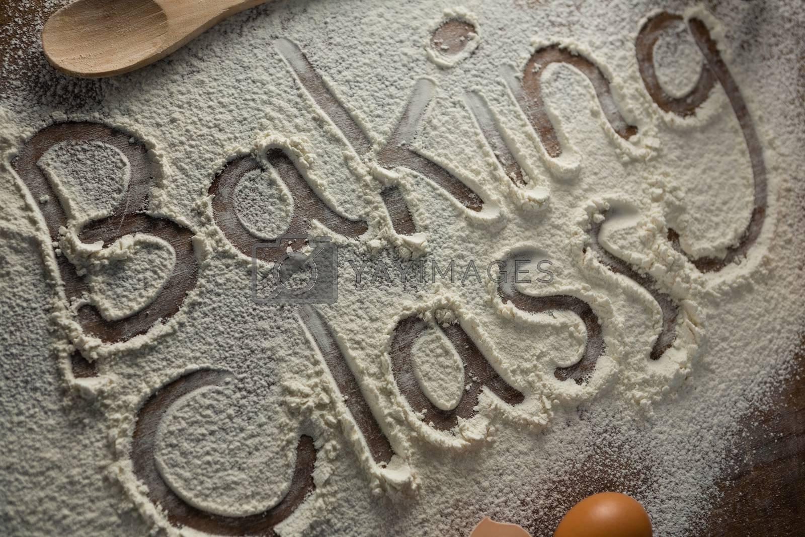 The word baking class written on sprinkled flour by Wavebreakmedia
