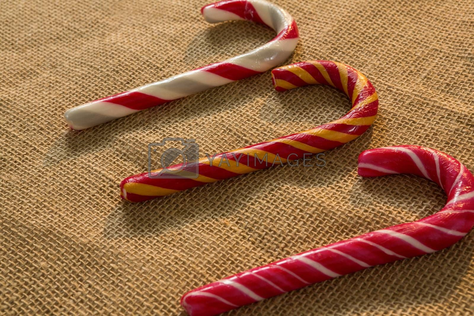 Close up of colorful candy canes by Wavebreakmedia