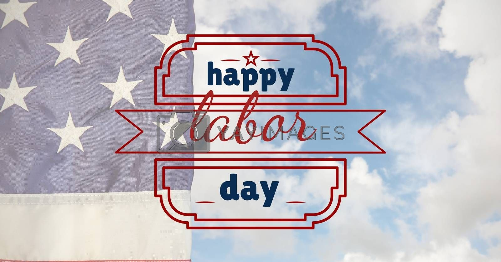 Labor day text over US flag by Wavebreakmedia