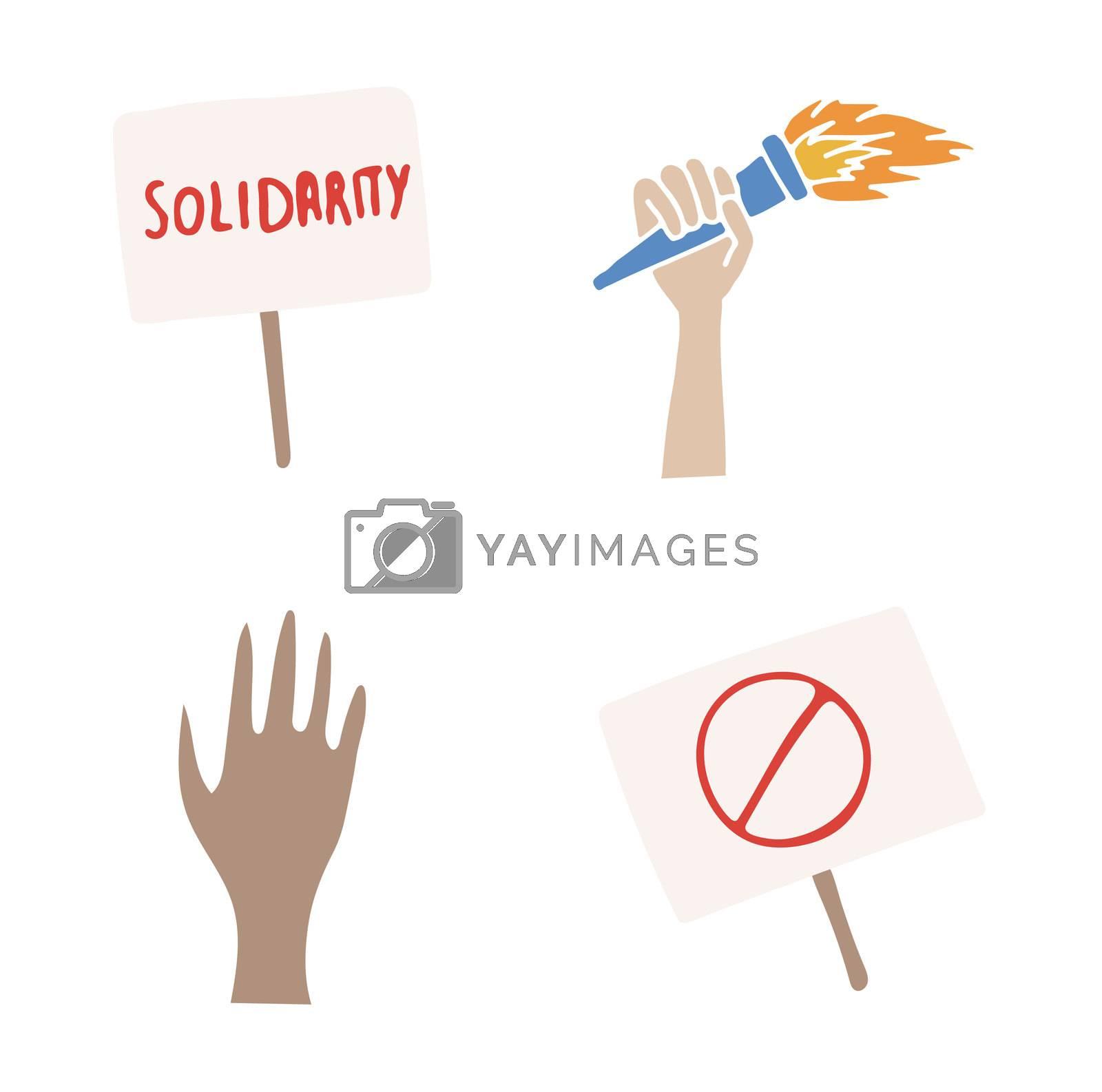 Vector set of solidarity concepts by Wavebreakmedia