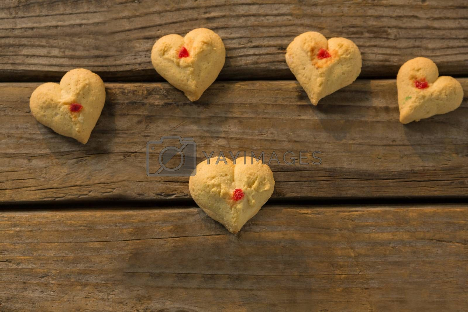 High angle view of heart shaped cookies on table by Wavebreakmedia
