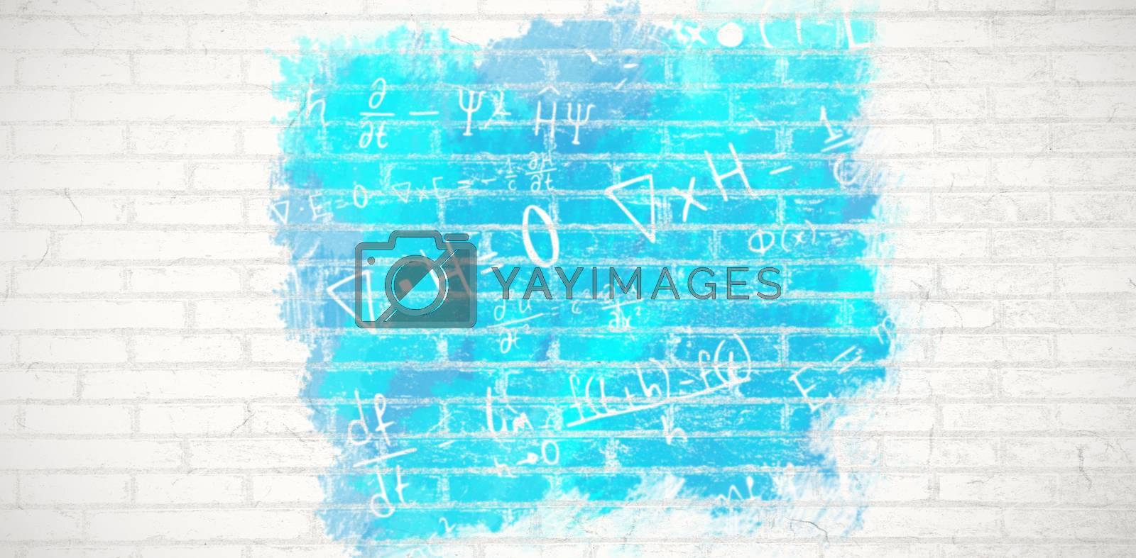 Composite image of digital composite image of algebraic formulas by Wavebreakmedia
