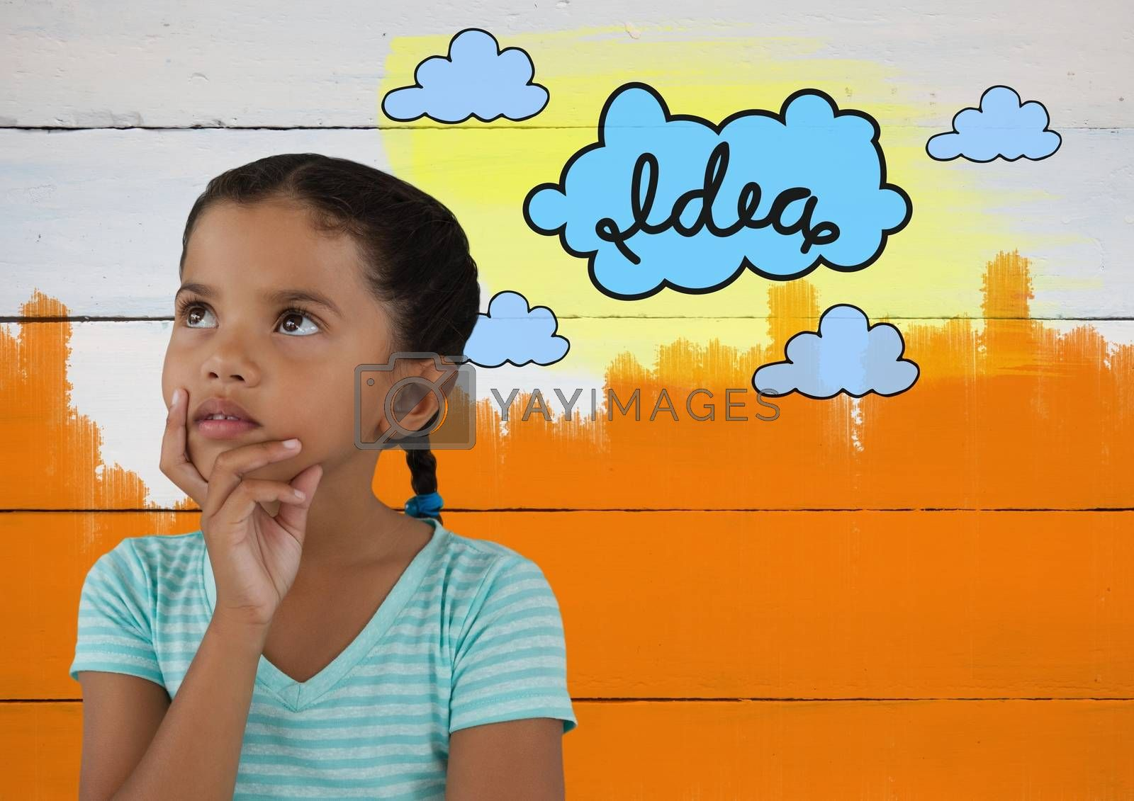 Girl looking up with colorful idea cloud graphics and painted wall by Wavebreakmedia