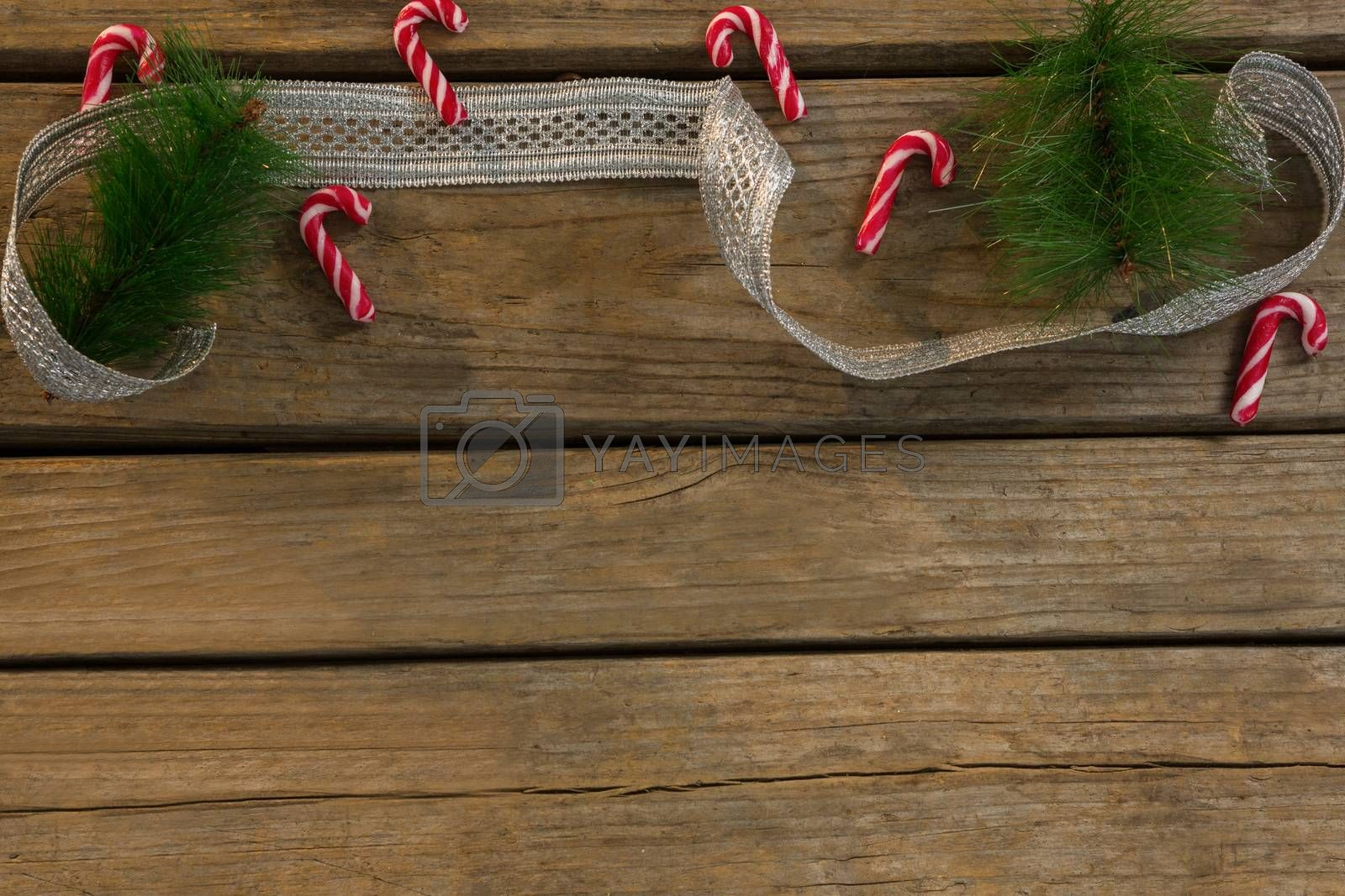 High angle view of candy canes with twigs and ribbon on table by Wavebreakmedia