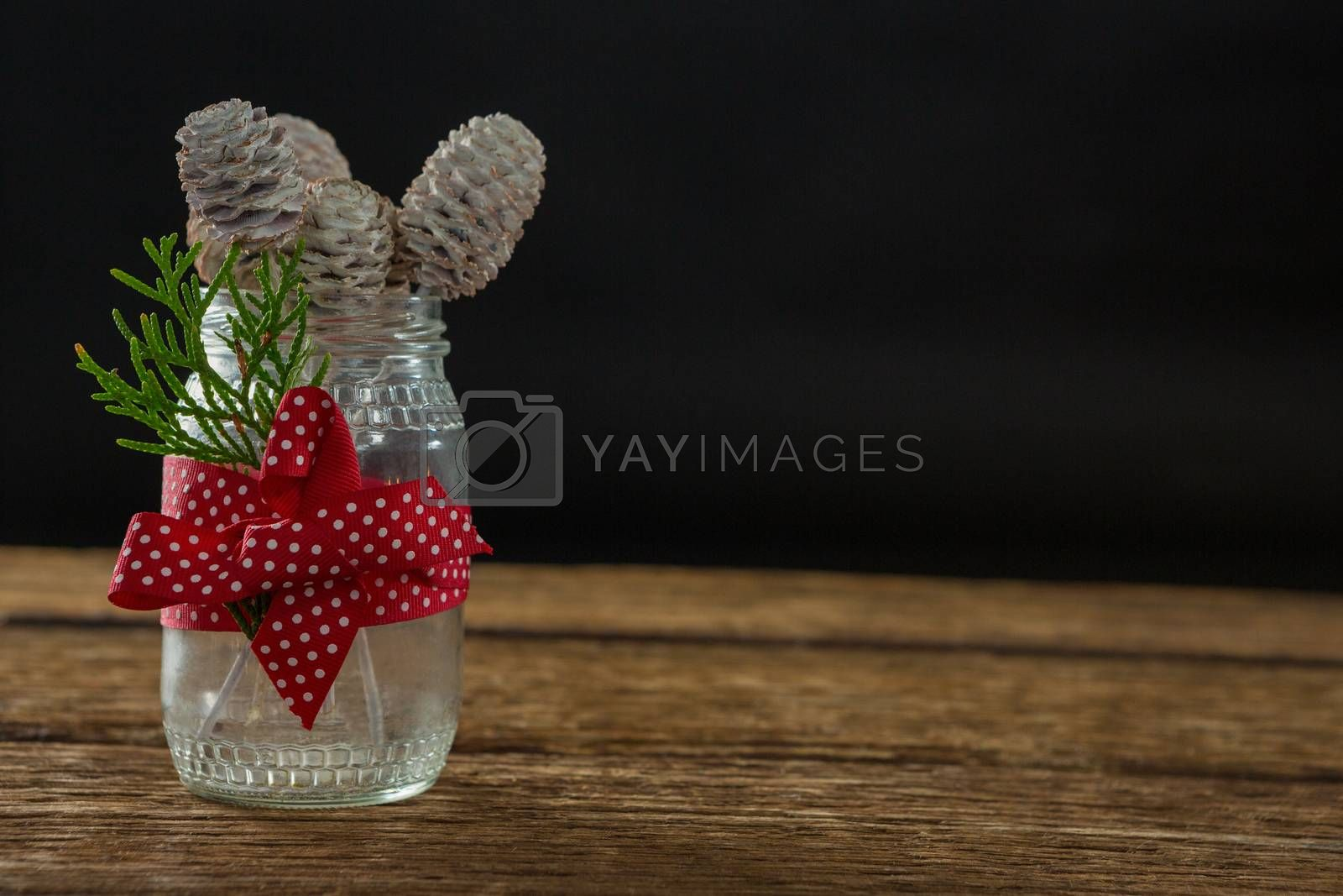 Close up of pine cones in glass jar by Wavebreakmedia