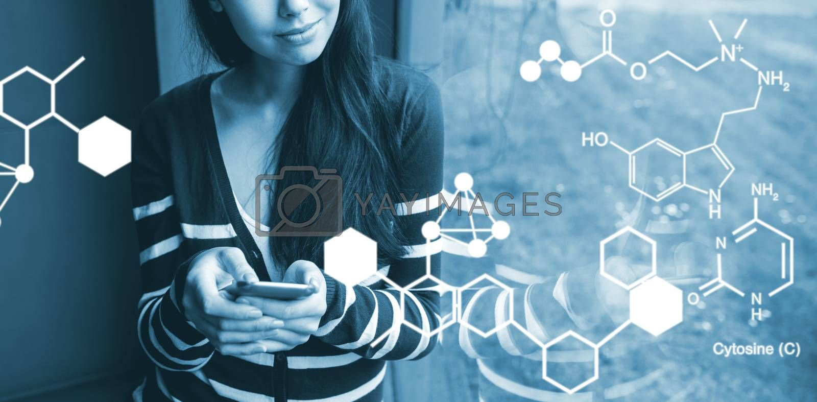 Composite image of digitally generated image of chemical structure by Wavebreakmedia