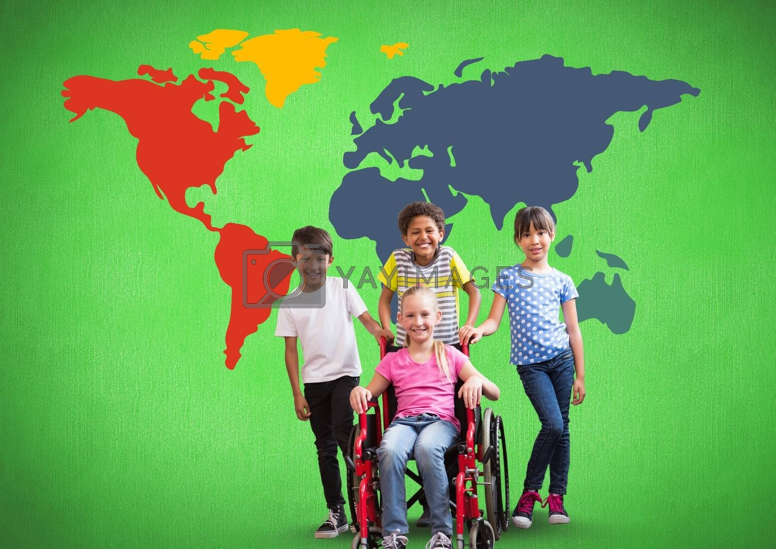 Disabled girl in wheelchair with friends in front of colorful world map by Wavebreakmedia
