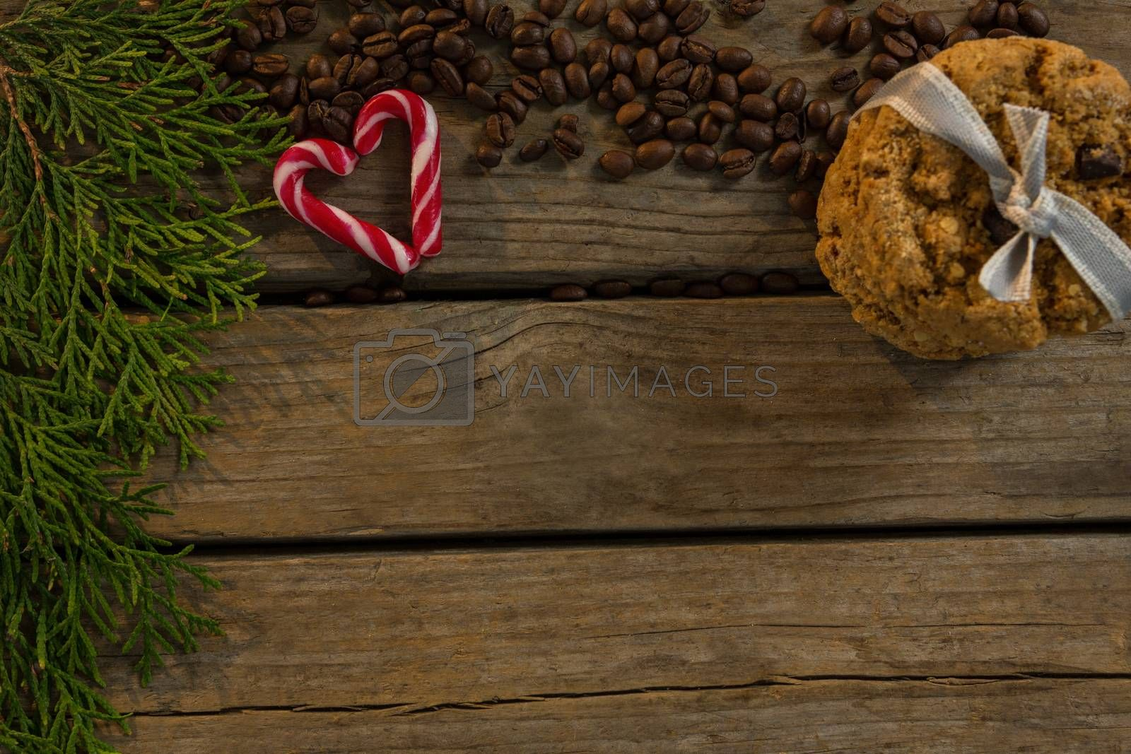 High angle view of cookies with candy cane and coffee beans by twigs by Wavebreakmedia
