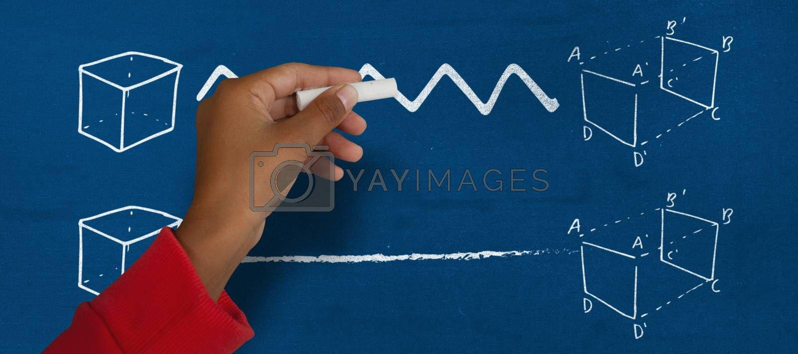 Composite image of cropped image of girl with hand raised holding chalk by Wavebreakmedia