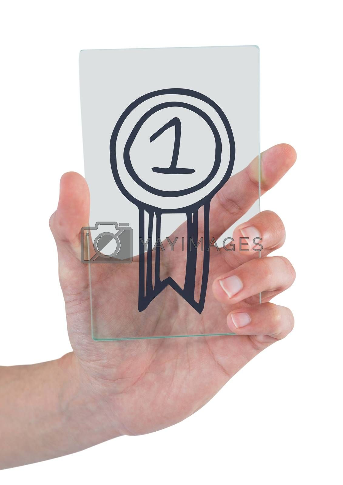 Hand holding a glass with a trophy icon by Wavebreakmedia
