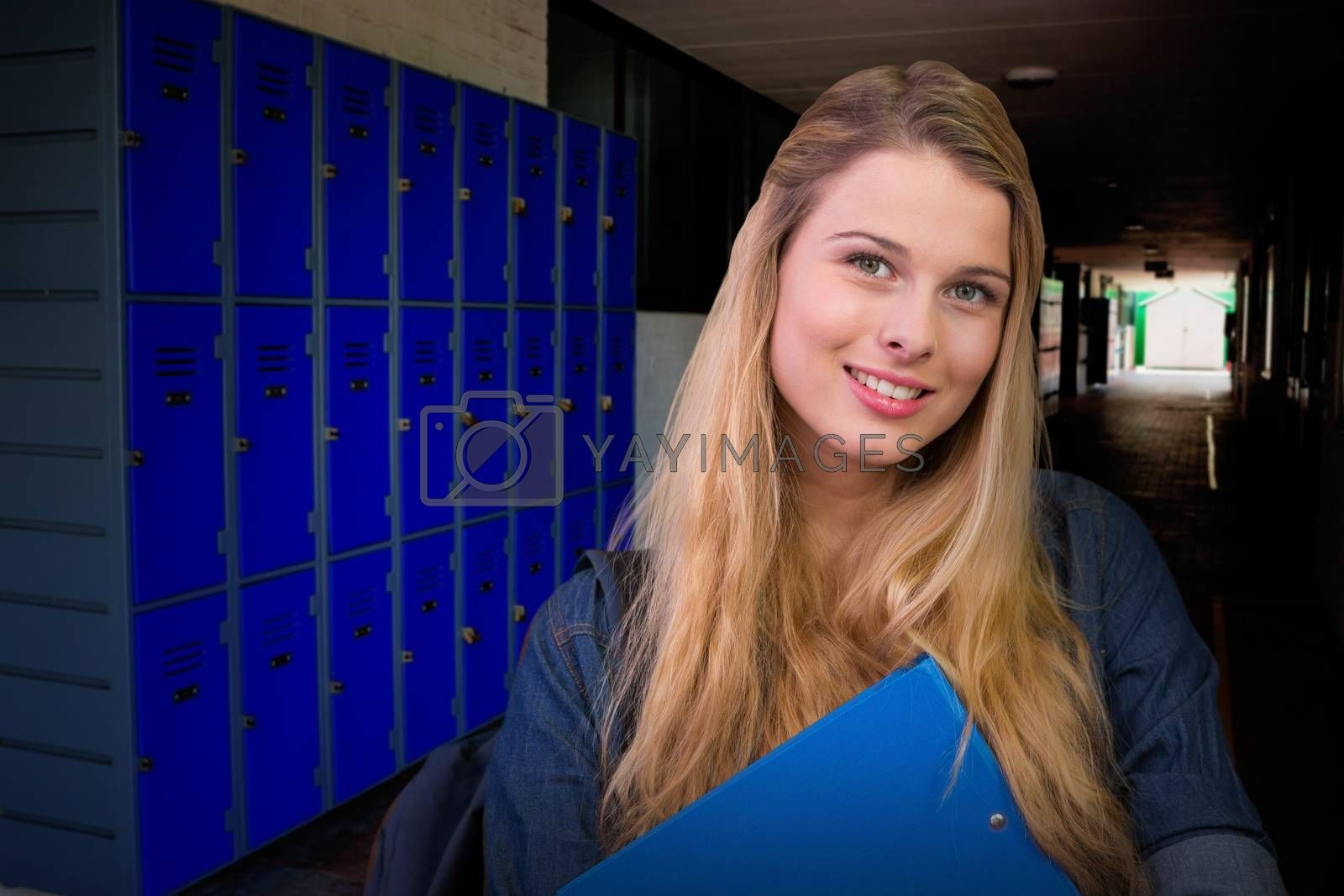 Composite image of pretty student in the library by Wavebreakmedia