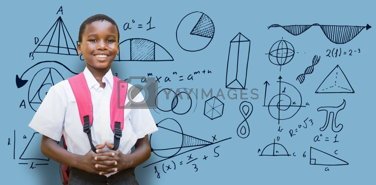 Composite image of portrait of student with schoolbag by Wavebreakmedia