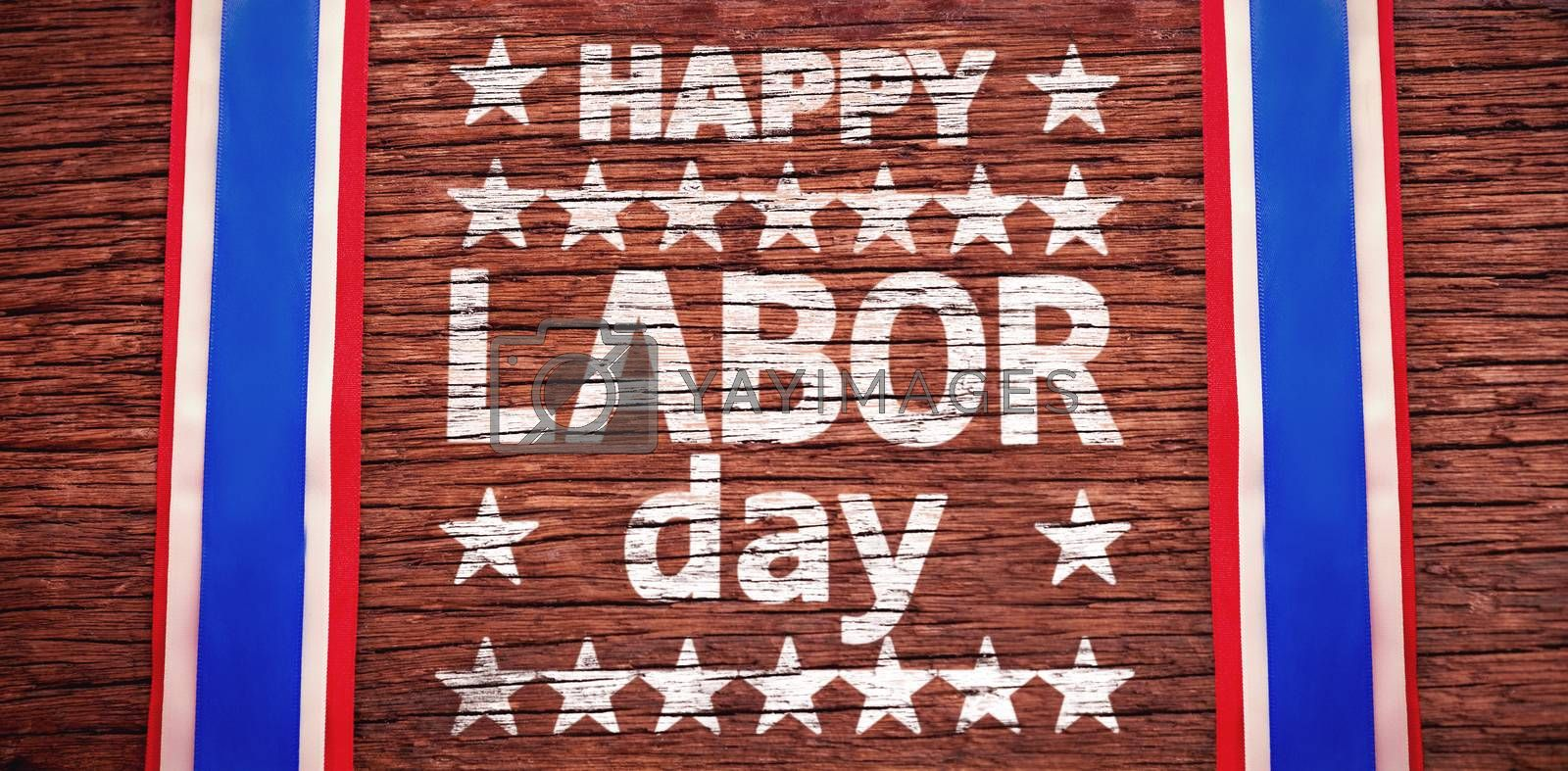 Composite image of happy labor day text with star shape by Wavebreakmedia