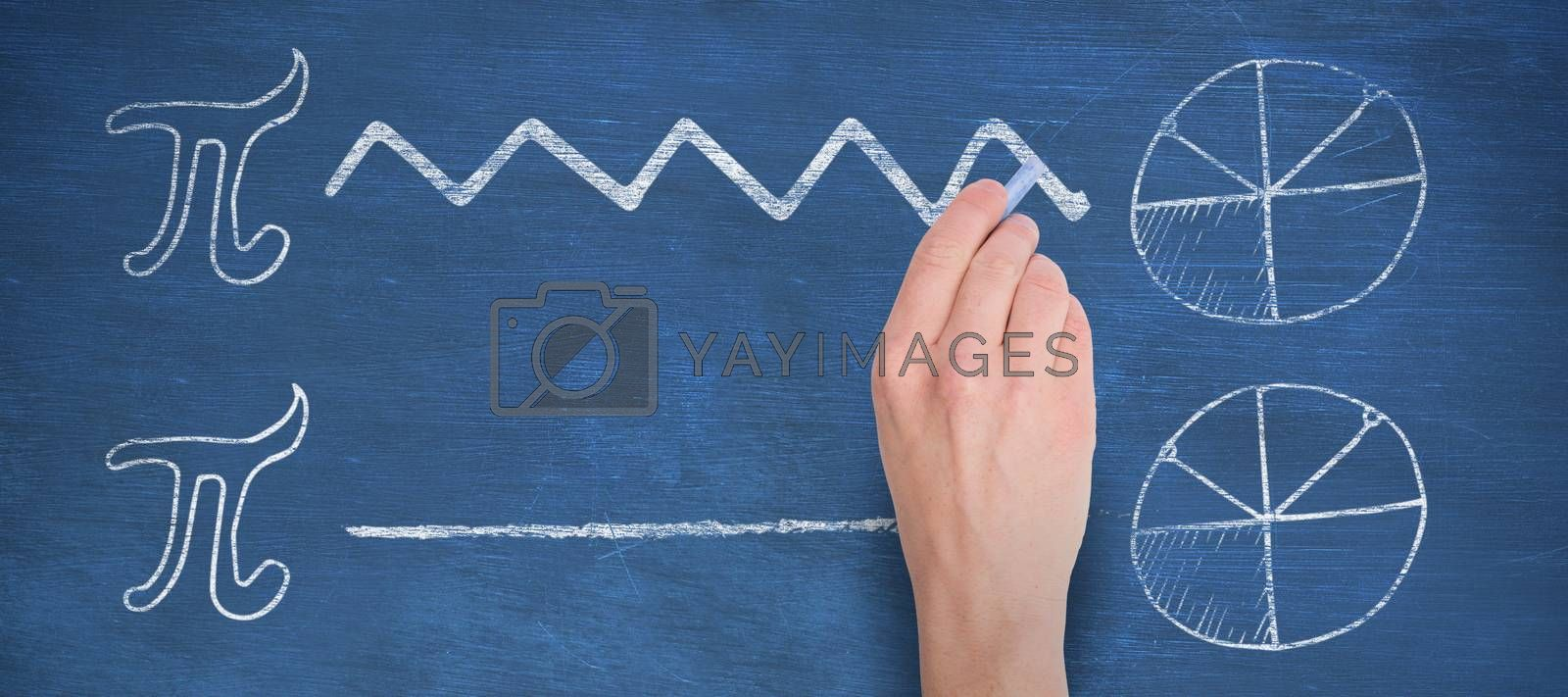 Composite image of hand writing with blue chalk by Wavebreakmedia