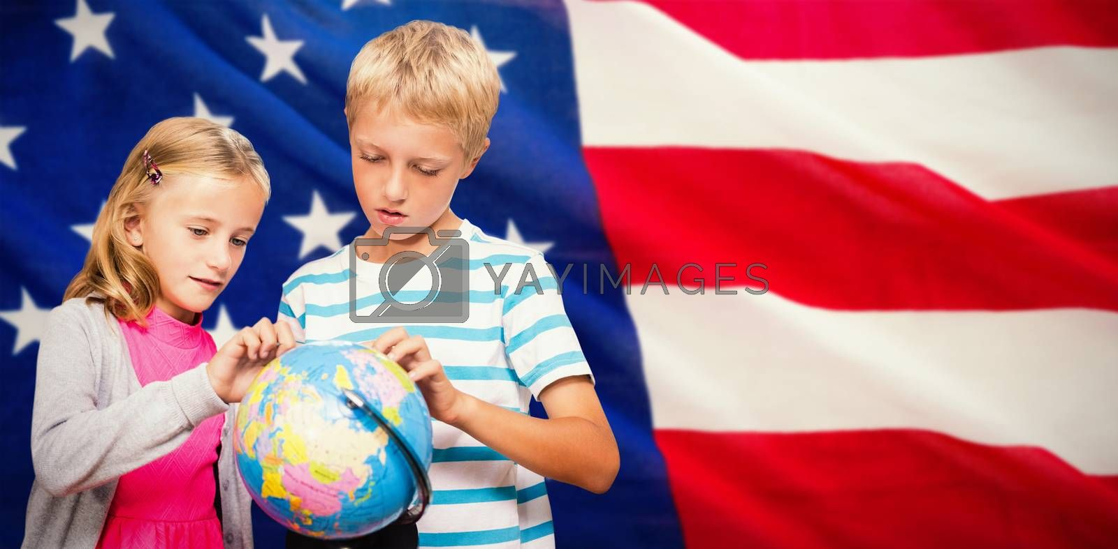 Composite image of friends looking at globe by Wavebreakmedia