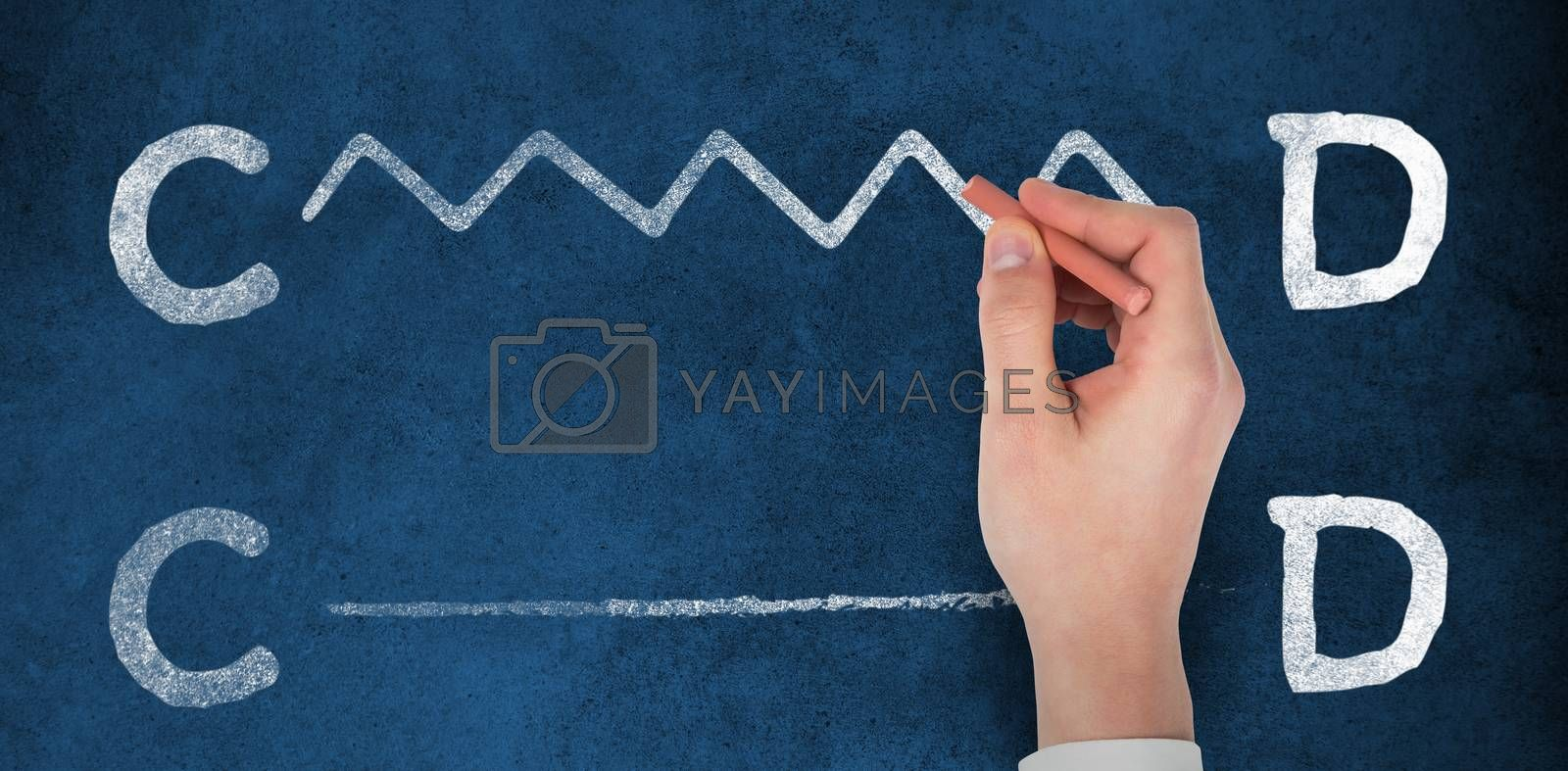 Composite image of hand writing with a chalk by Wavebreakmedia