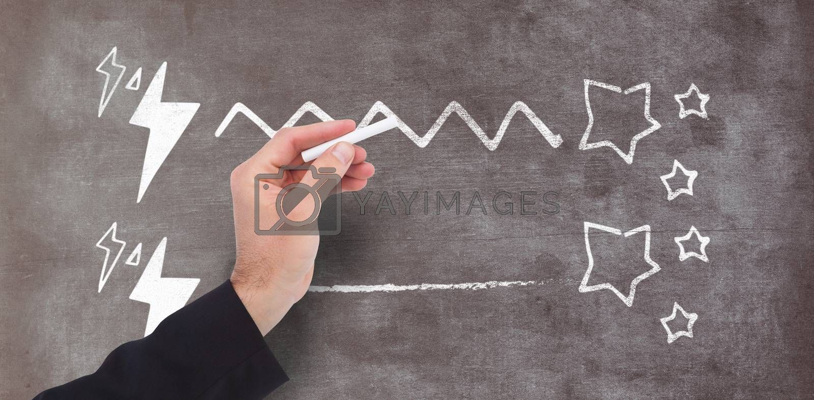 Composite image of hand holding a chalk and writing something by Wavebreakmedia