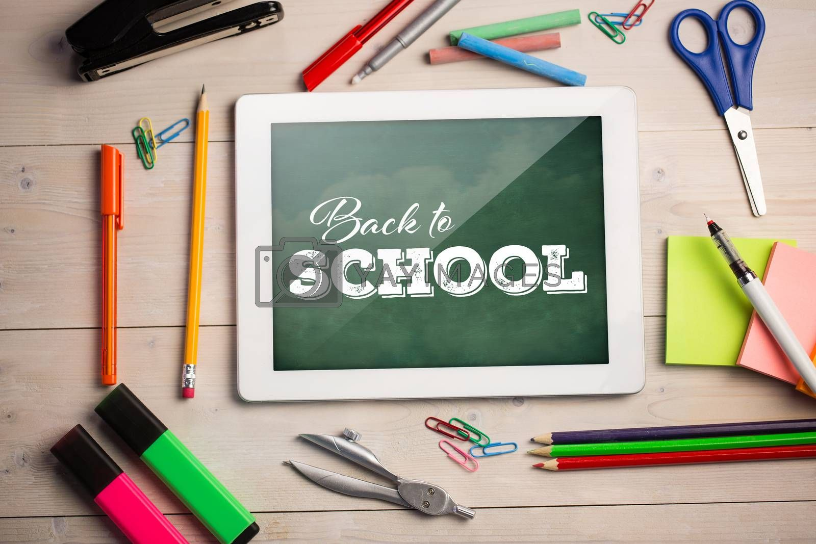 Composite image of back to school text over white background by Wavebreakmedia