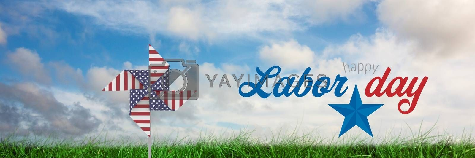 Happy labor day text and USA wind catcher in front of grass and sky by Wavebreakmedia