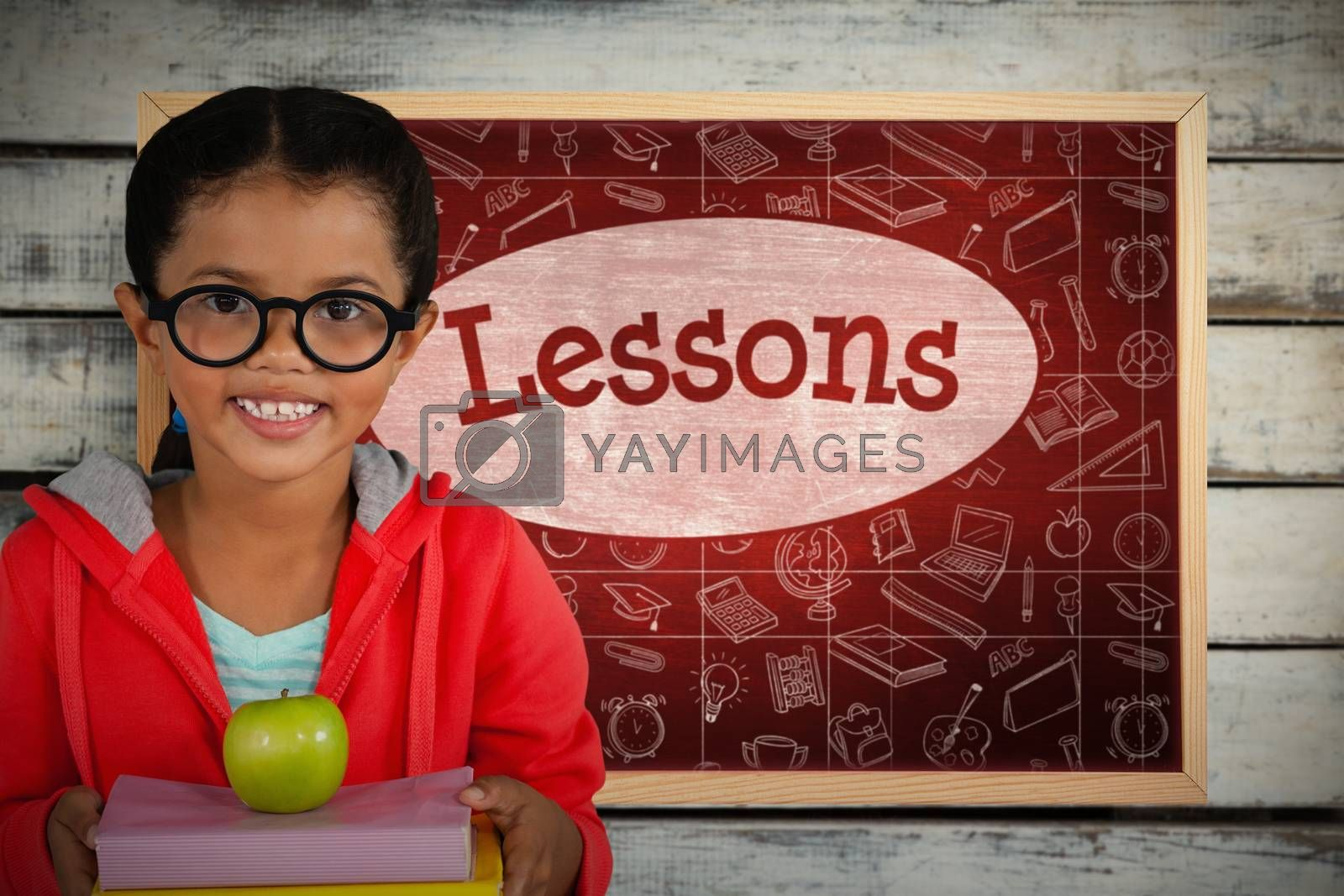 Composite image of happy girl holding books and apple by Wavebreakmedia
