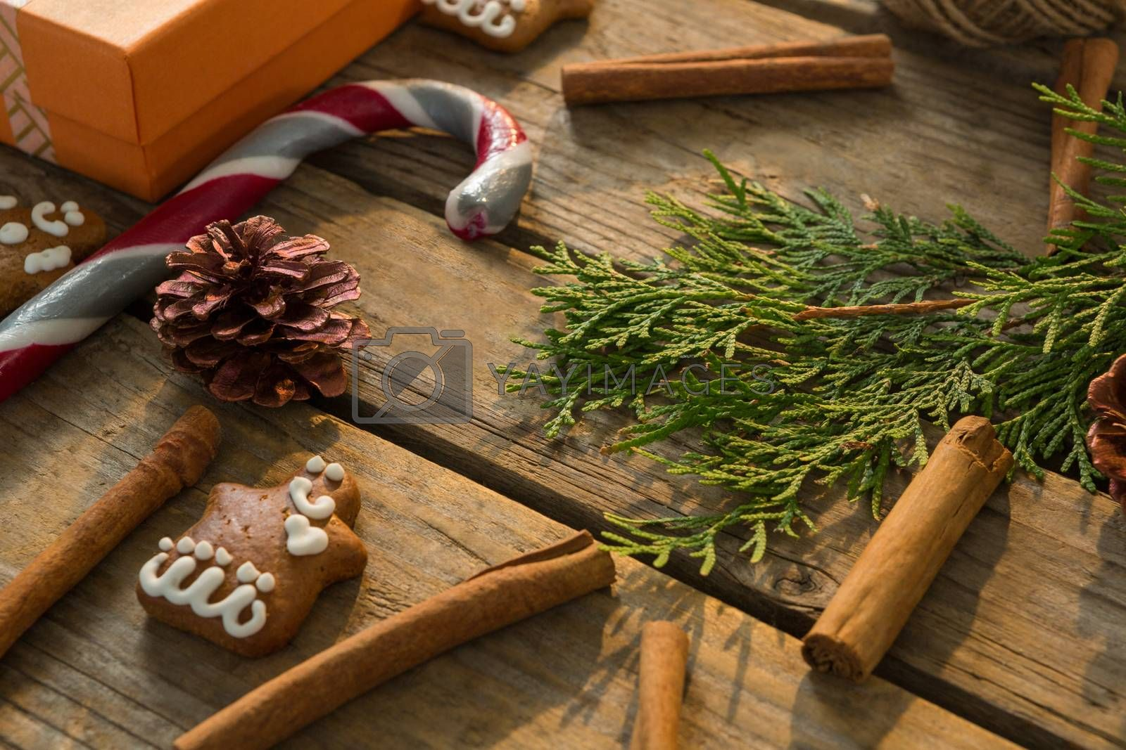 High angel view of Christmas decoration with spice by Wavebreakmedia