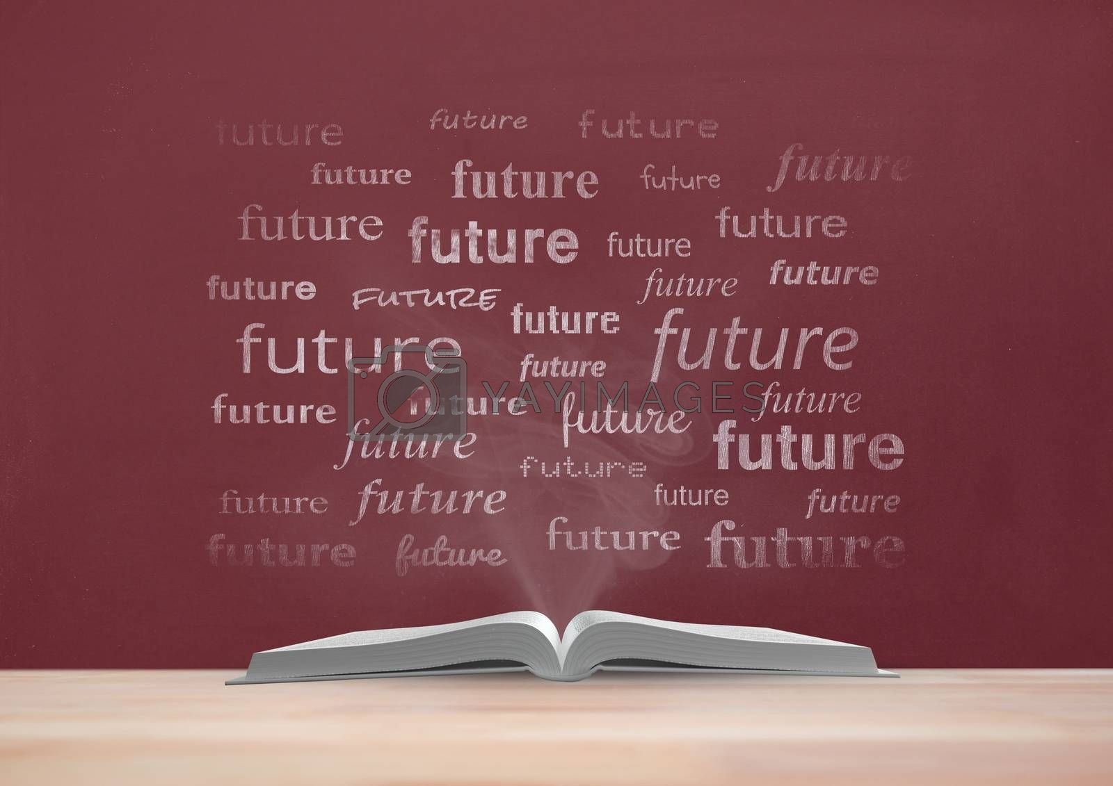 Book on the table against red blackboard with future text by Wavebreakmedia