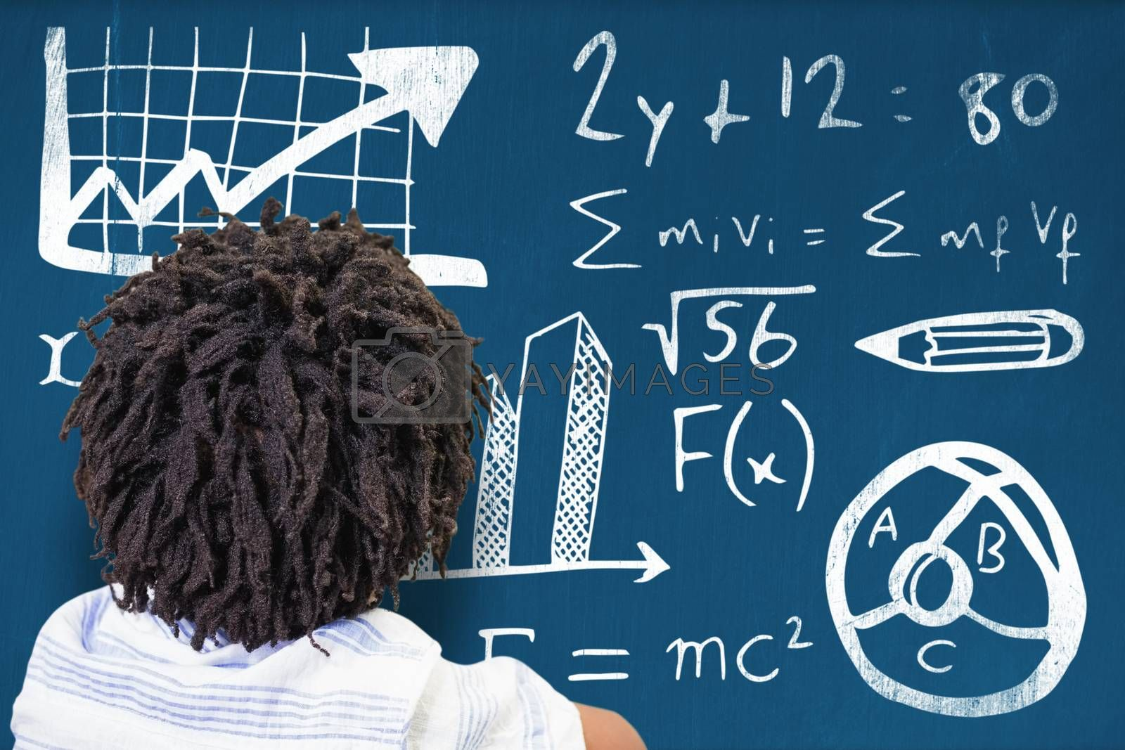 Composite image of rear view of boy with dreadlocks by Wavebreakmedia