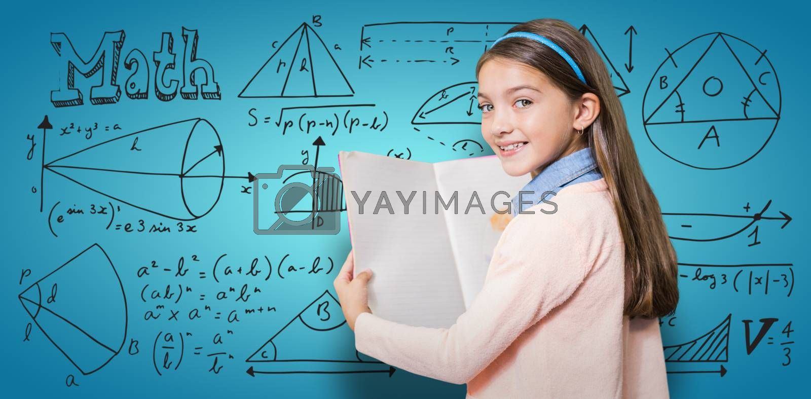 Composite image of portrait of smiling girl holding book by Wavebreakmedia