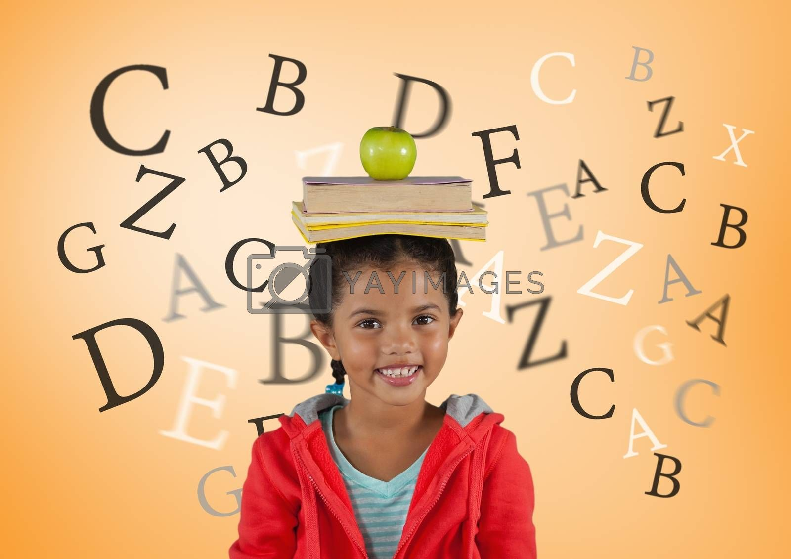 Many letters around Girl with books and apple on head in front of orange background by Wavebreakmedia