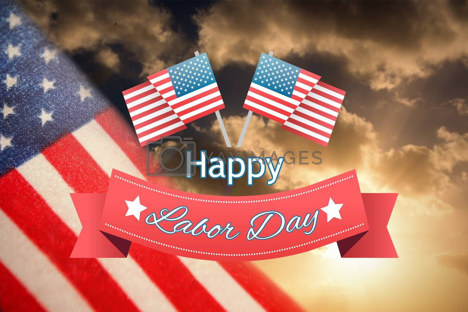 Composite image of happy labor day text badge with flags by Wavebreakmedia