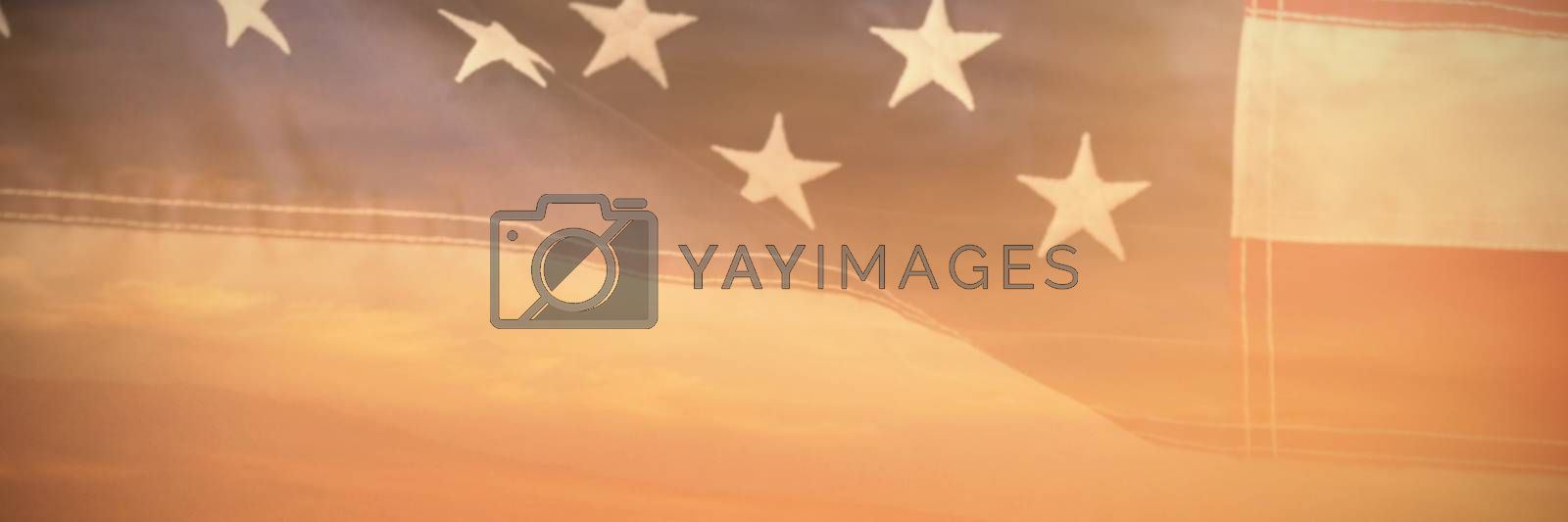Composite image of close-up of red and white american flag by Wavebreakmedia