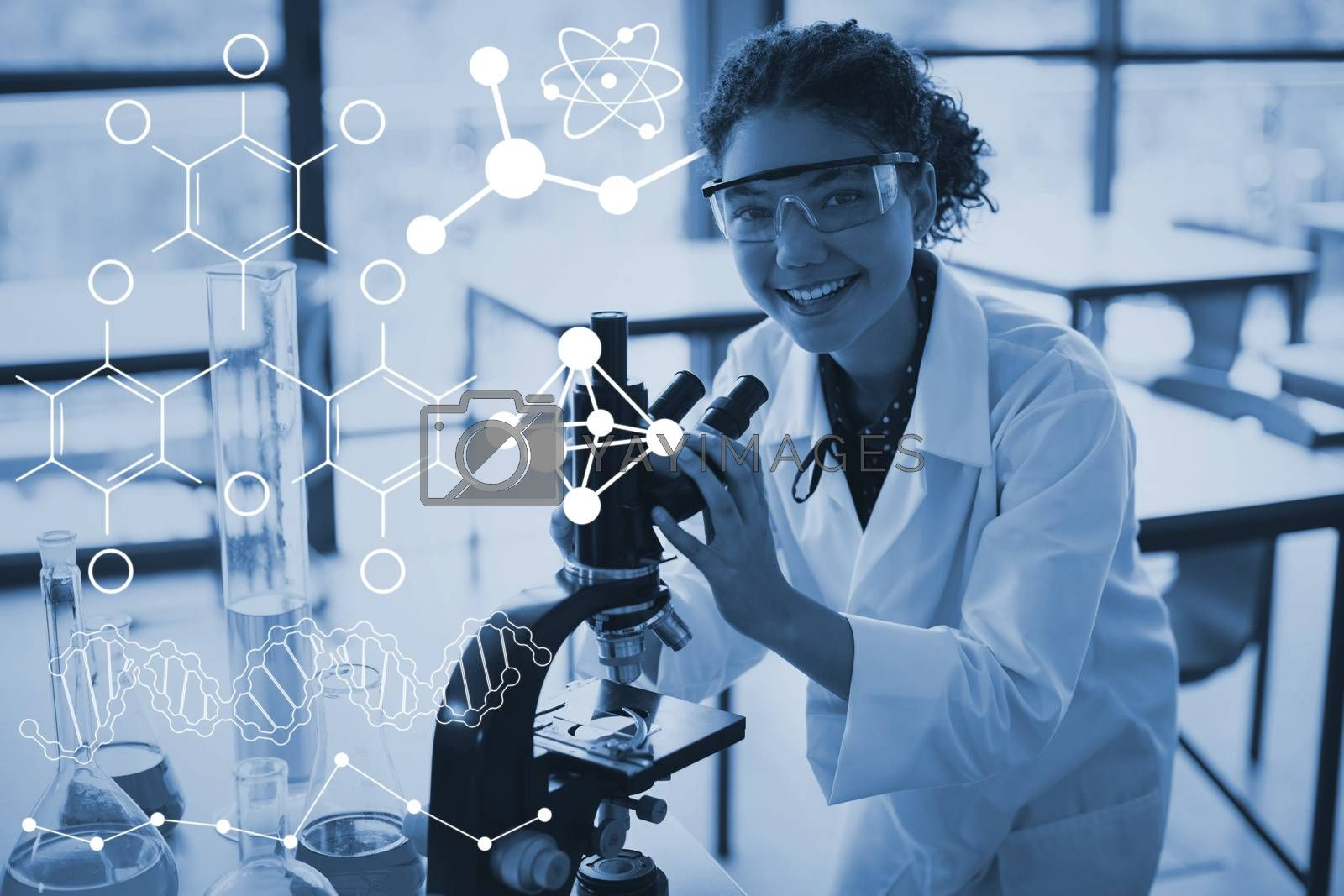 Composite image of illustration of chemical formulas by Wavebreakmedia